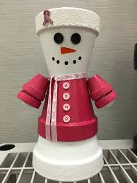 snowman breast cancer sale clay pot people holiday christmas snow