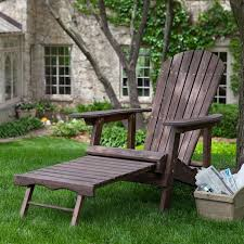 Outdoor Adirondack Chairs Dark Brown Wood Adirondack Chair With Built In Retractable Ottoman