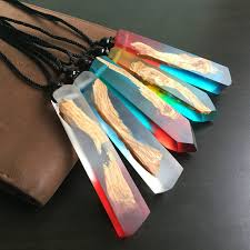 resin wood necklace images Resin wood statement necklaces pendants for women men handmade jpg