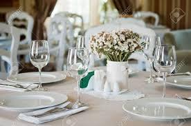 fine table setting in beatiful gourmet restaurant stock photo