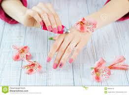 hands with pink color nails manicure stock photo image 89954819