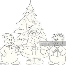 santa claus christmas tree and snowmans outline vector art getty