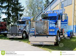 kenworth heavy haul trucks two american vintage kenworth heavy trucks editorial stock image