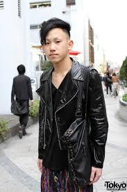 cool japanese guy in motorcycle jacket u0026 leggings