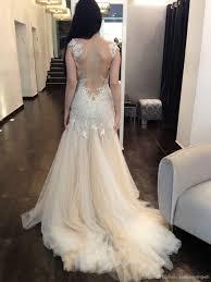 dress backless lace chiffon white ivory wedding beaded