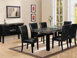 Terrific 7 Piece Black Marble Dining Table Room Set On And Chair