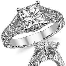 moissanite vintage engagement rings antique split shank square brilliant moissanite engagement ring