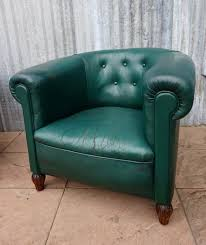 Vintage Leather Club Chair Vintage Petrol Colored Leather Club Chairs Set Of 2 For Sale At