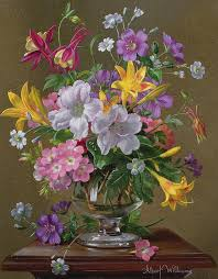 Glass Vase Painting Summer Arrangement In A Glass Vase Painting By Albert Williams