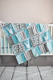 Bedding For A Crib Woodland Baby Quilt Turquoise Gray Crib Woodland Baby And
