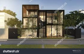 3d rendering black loft modern house stock illustration 604279643