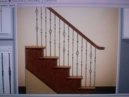 wood stair with iron banister and white wall for traditional