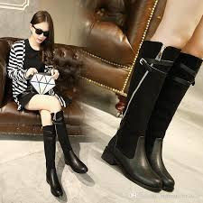 womens boots in style 2017 2017 chic materials joining buckles zip high low chunky heel