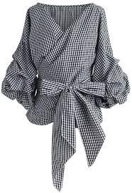 the shoulder black blouse gingham wrap blouse gingham shoulder and detail