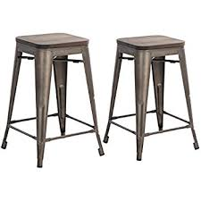 amazon com furmax 24 u0027 u0027 high metal stools backless silver metal