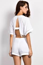 matching set cape crop top lace trim shorts matching set oasap