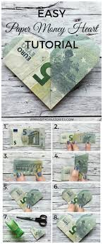 wedding gift dollar amount easy paper money heart folding tutorial banknote tutorials and