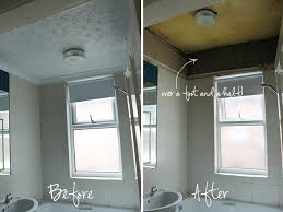 operation bathroom remodel ripping down the false ceiling swoon