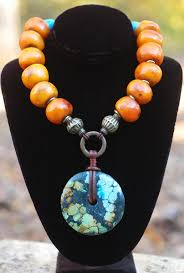 turquoise tibetan necklace images Soul of tibet copal amber turquoise donut pendant statement necklace JPG
