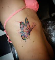 butterfly on ribcage by designs