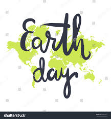 earth day hand lettering on world stock vector 399237331
