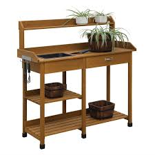 Wooden Potting Benches Garden Table With Sink Home Outdoor Decoration