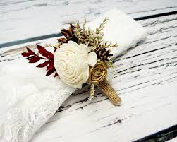 gold boutonniere ivory brown gold and burgundy rustic wedding boutonniere with
