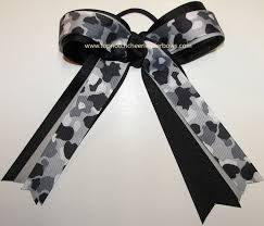 camouflage ribbon camouflage black gray ponytail holder cheer bow camo black gray