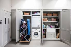 entry hall mudroom space saving laundry room design with smart