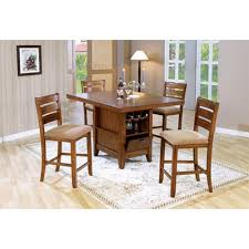counter height 5 piece dining table kitchen island set with wine