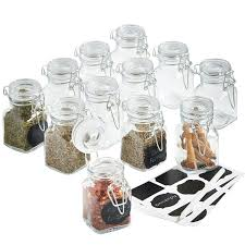 vonshef set of 12 mini clip top glass storage preserving jars