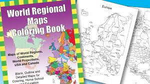 world regional maps pdf coloring book for classrooms education