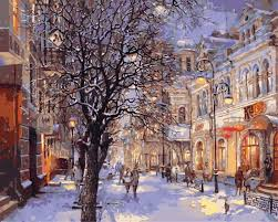 city home decor modern painting by numbers winter city home decor for living room