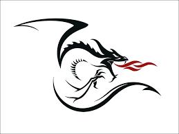 cool black and red tribal dragon tattoo stencil