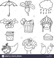 set of thanksgiving vegetable doodles stock vector
