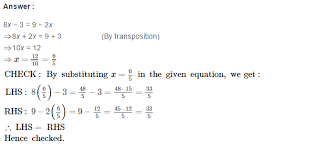 equations in one variable rs aggarwal class 7 solutions