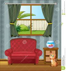 house design inside the house a cat looking at the fish inside the house stock photography