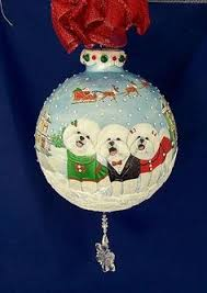 handpainted bichon frise christmas ornament home decoration ball