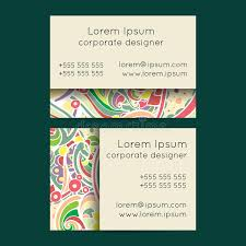 boho paisley floral business cards templates stock vector image