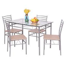Table And Chairs Kitchen by Costway 5 Piece Dining Set Table And 4 Chairs Glass Top Kitchen