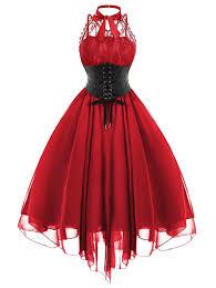 American Flag Corset Red M Cross Back Lace Panel Gothic Corset Dress Rosegal Com