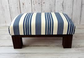 Custom Fabric Ottoman by Blue Striped Ottoman Pouf Fabric Foot Stool Coastal Décor
