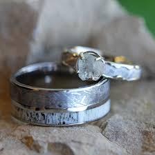 unique wedding ring sets meteorite wedding ring set with diamond ring and antler ring