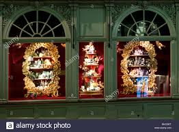 shop windows at fortnum and mason christmas decorations stock