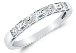 Princess Cut Wedding Ring by Amazon Com Solid 14k White Gold Princess Cut U0026 Baguette Highest