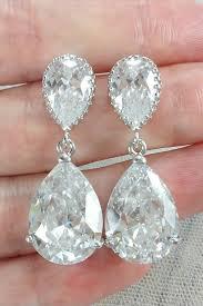 wedding earrings chandelier cubic zirconia drop earrings to match wedding dresses amanda