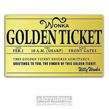 printed plastic card willy wonka golden ticket personalised world