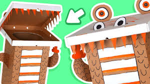 cardboard dinosaur dustbin crafts ideas with boxes diy on box