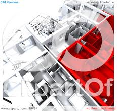 clipart illustration of red and white 3d house floor plans by