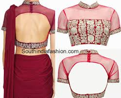 net blouse pattern 2015 stylish collar neck blouse south india fashion